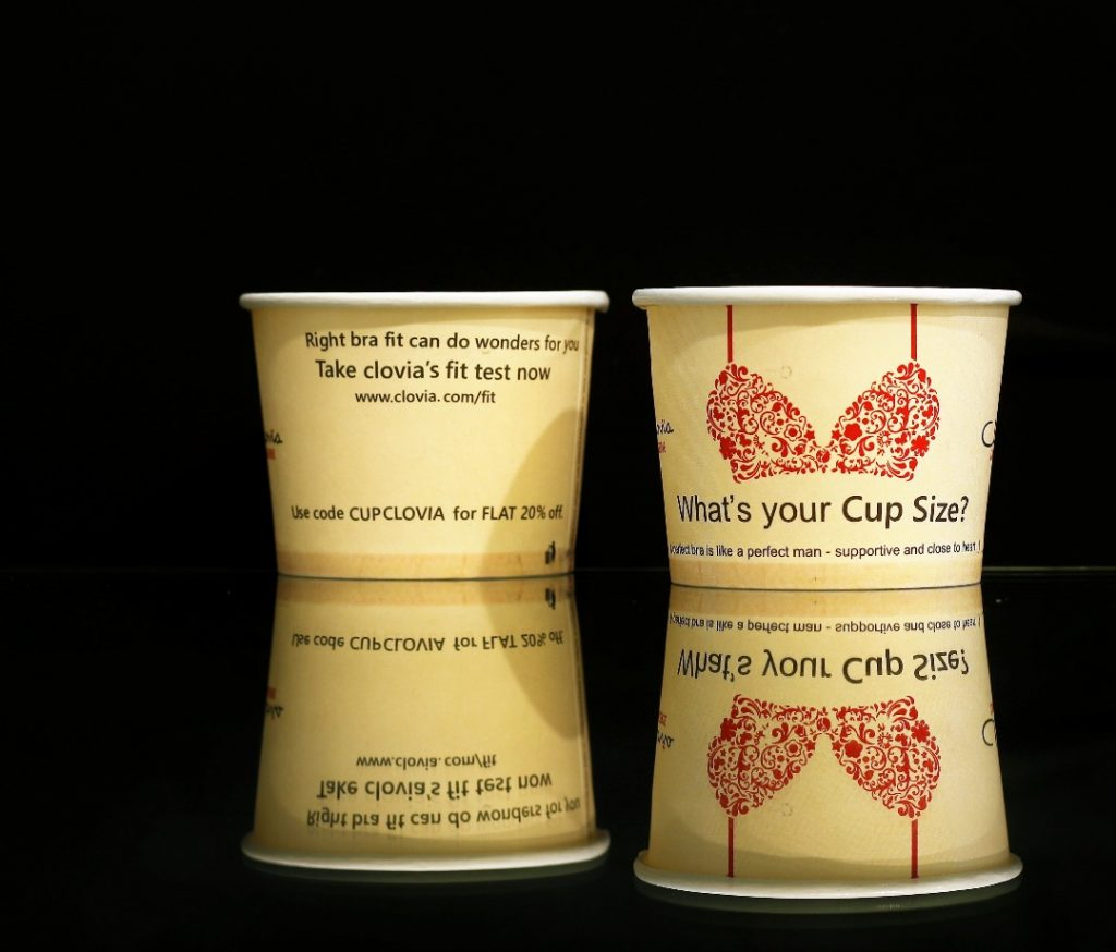 branded paper cups for Clovia