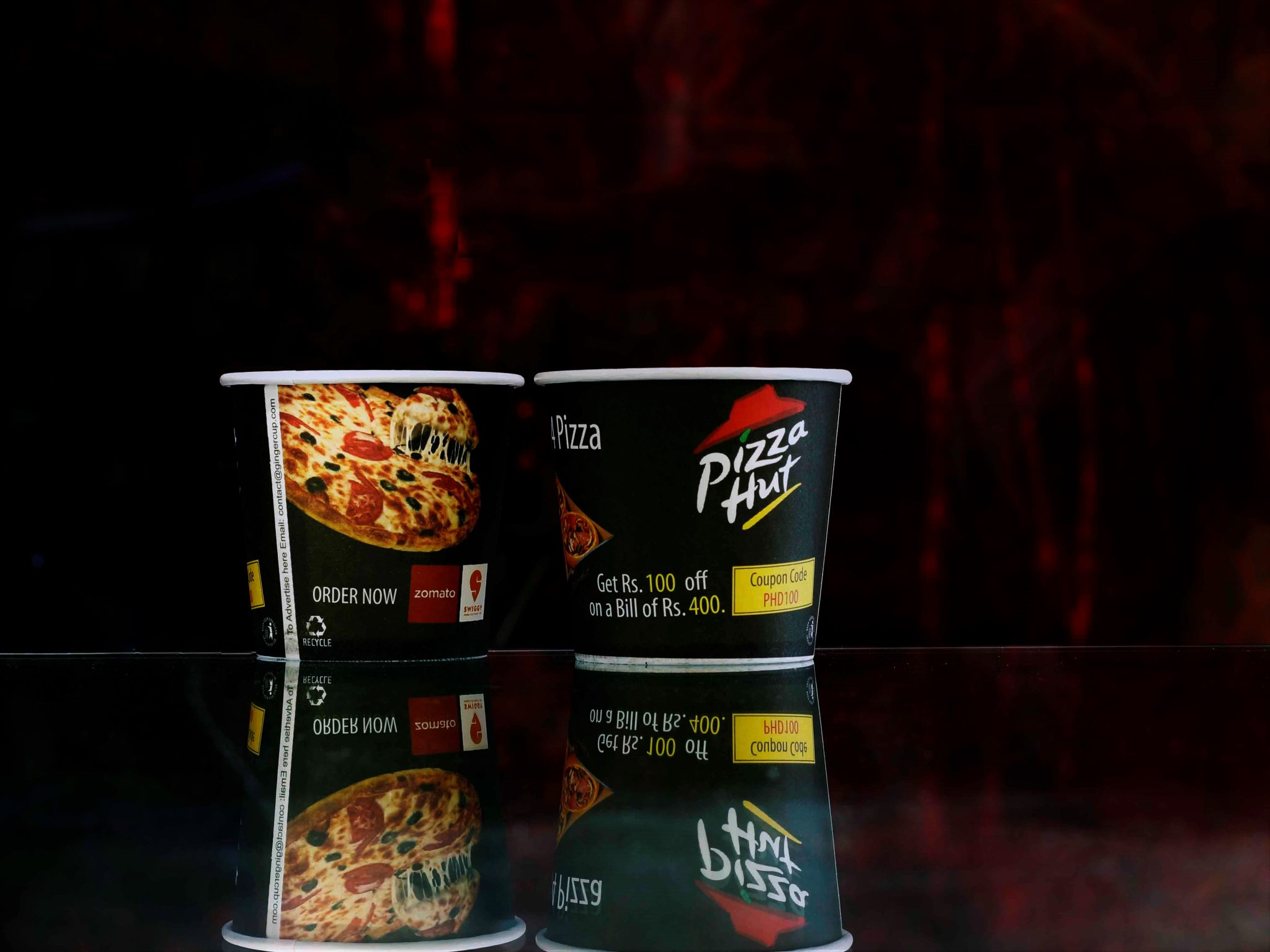 branded paper cup for pizza hut