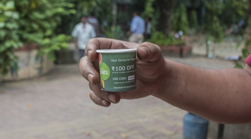 UberEats paper cup advertising