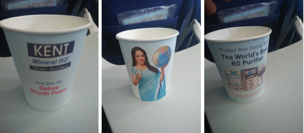 In-flight paper cup advertising